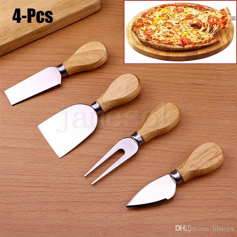 Faydalı Peynir Araçları Seti 4PCS / SET Meşe Kol Pişirme Peynir Kurulu kesen Tereyağı Pizza Dilimleme Cutter ayarlar Bıçak Çatal Kürek Takımı rendeler