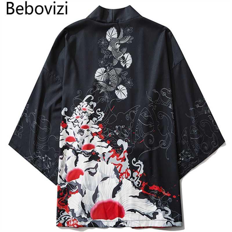 Bebovizi 2020 الكيمونو الياباني سترات كوي مطبوعة المتناثرة الهيب هوب الرجال اليابان الشارع الشهير رداء سترات الصيف رقيقة فضفاض الملابس