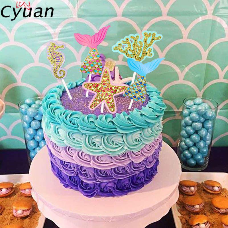 Amazing 2020 Cyuan Happy Birthday Cake Topper Mermaid Party Cupcake Personalised Birthday Cards Veneteletsinfo