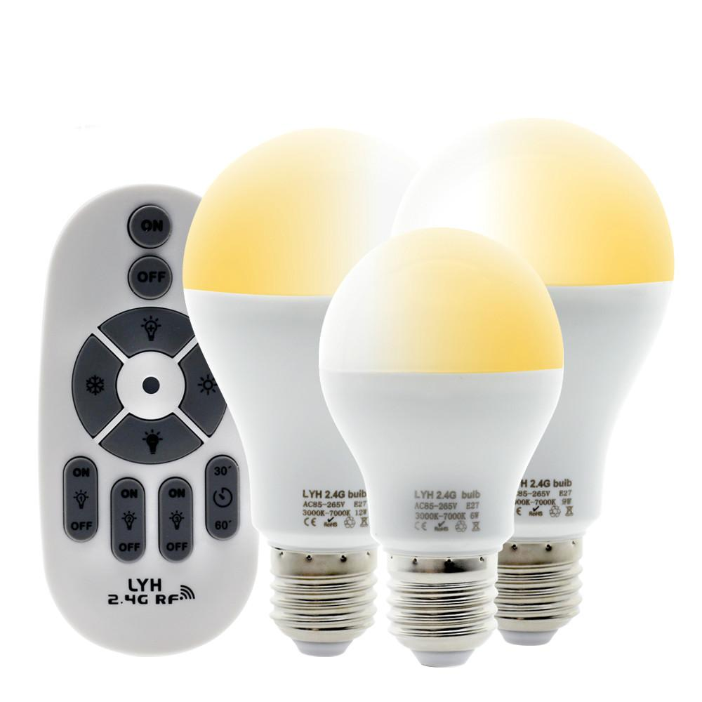 الذكية LED لمبة E27 AC86-265V 6W 9W 12W الأبيض الدافئة الباردة الأبيض للتغيير لمبة مصباح RF 2.4G التحكم عن بعد LED لمبة الضوء.