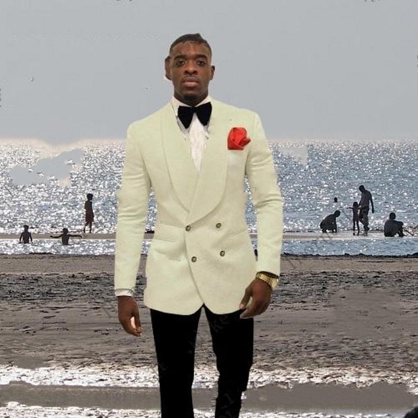 Marfil En relieve Para hombre Boda Tuxedos Solapa chal Novio Padrino de boda Esmoquin Hombre popular Blazers Chaqueta Excelente traje de 2 piezas (Chaqueta + Pantalones + Corbata) 2