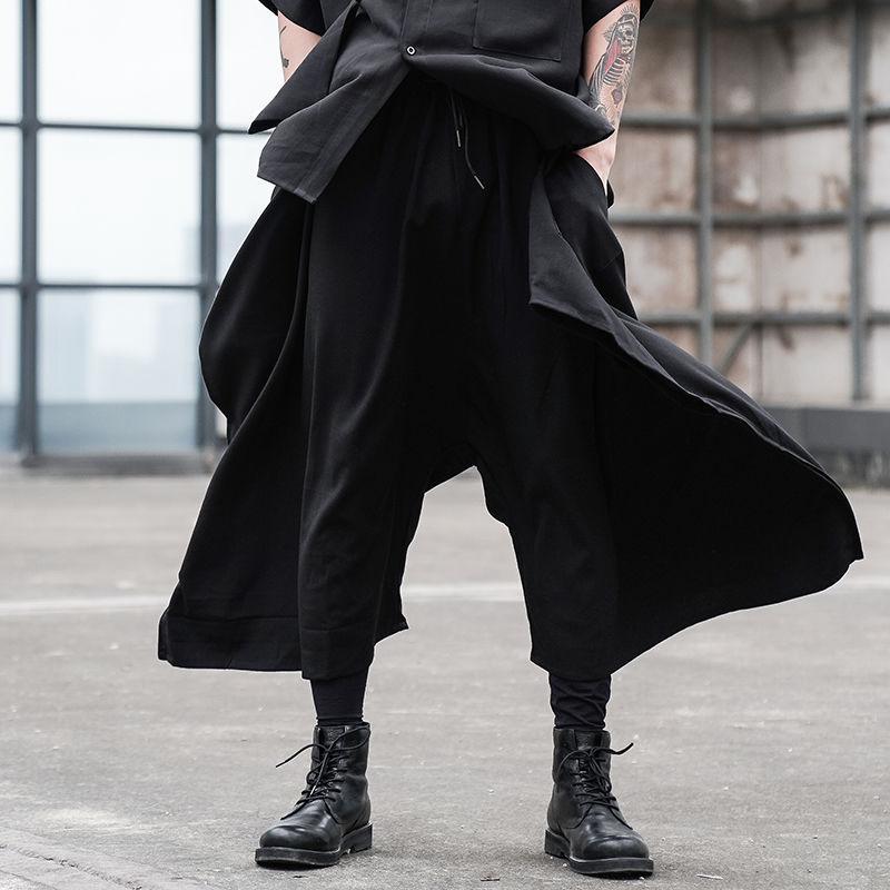 EWQ / desgaste del estilo de Japón nicho de diseño sueltan los pantalones ocasionales de los hombres de pierna ancha cintura elástica toursers irregulares 2020 del verano nuevas 9Y2495