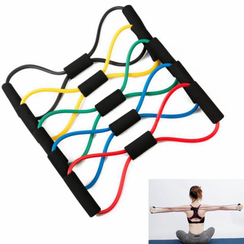 portos Entretenimento Yoga fitness Gum faixas da resistência 8 bandas Palavra Supino Corda Workout muscular aptidão borracha elástica para Sports ...