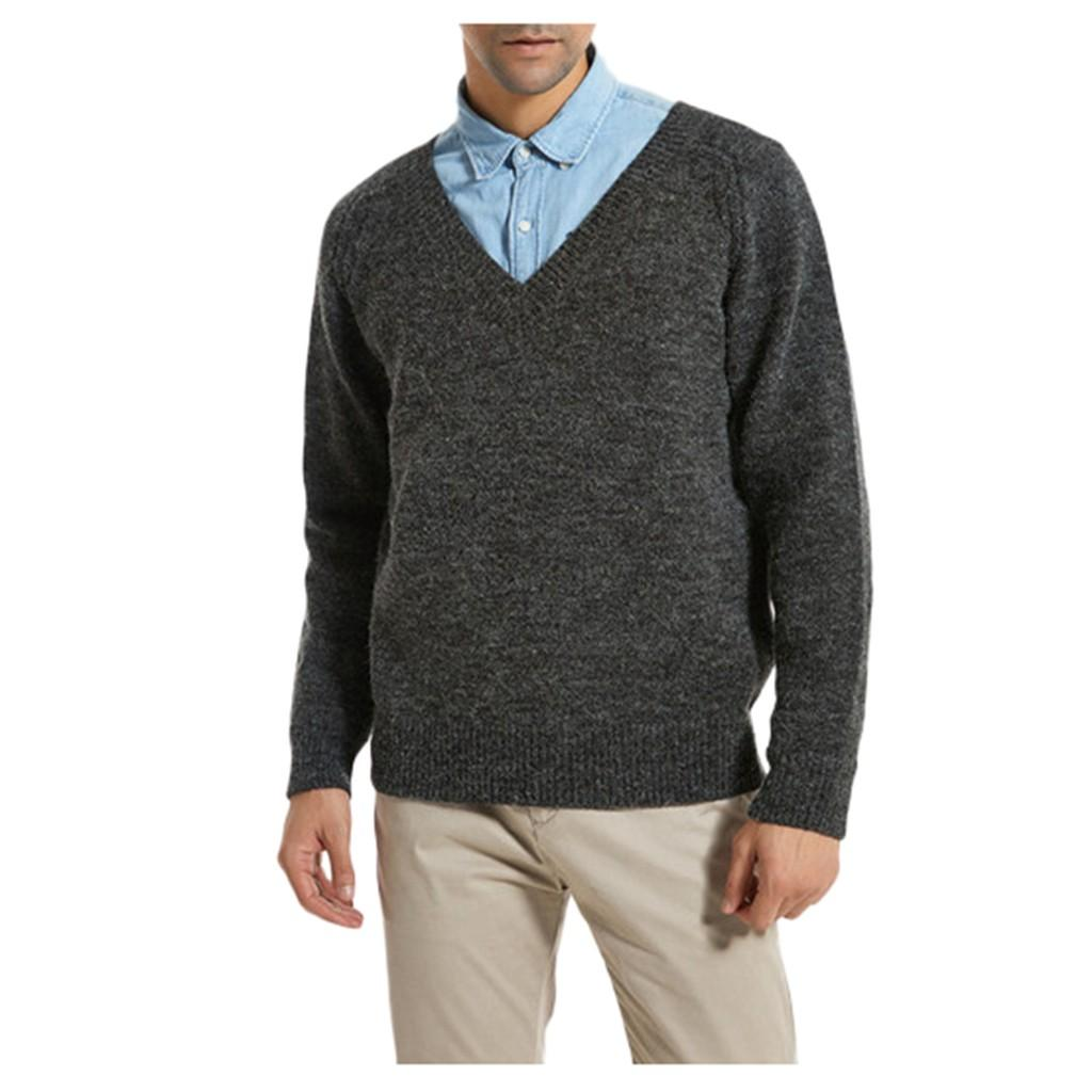 Pull Hommes Automne Hiver Mode V-cou Casual manches longues pull en tricot Top Sueter Hombre