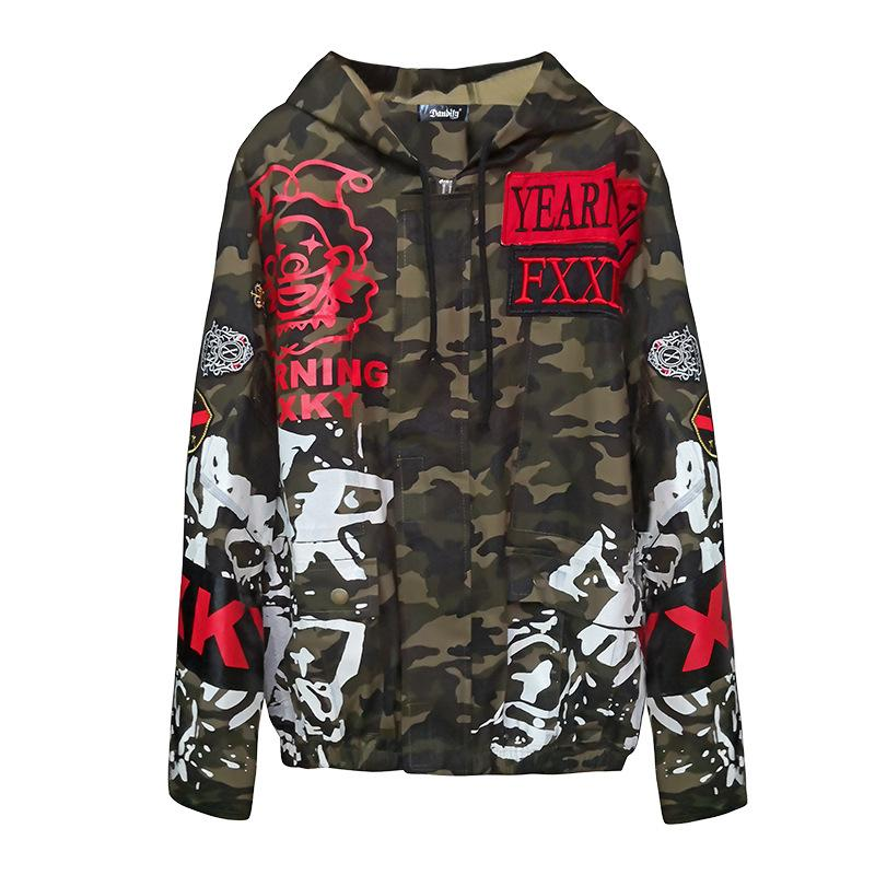 womens jackets and coats 2019 womens coat hooded Ulzzang hip hop BF style camouflage jacket women's vintage