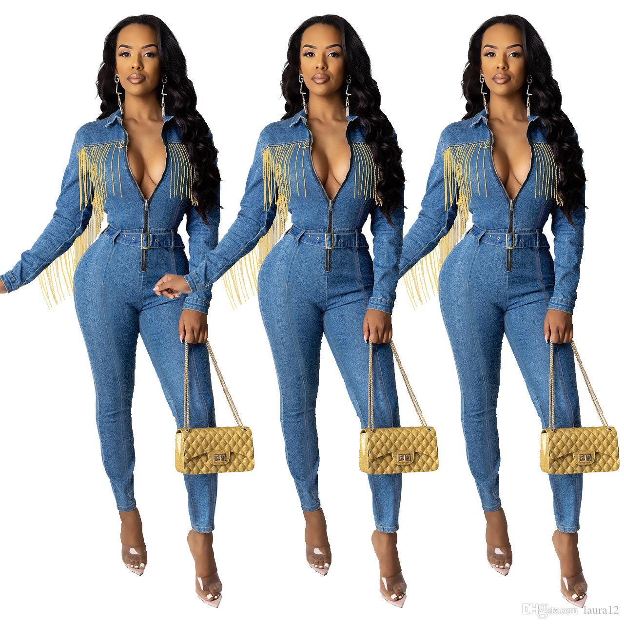 Últimas Inverno mulheres azuis Macacões Denim outono com Taasels moda borlas mangas compridas Zipper V Long Neck penci Jeans real Pictures