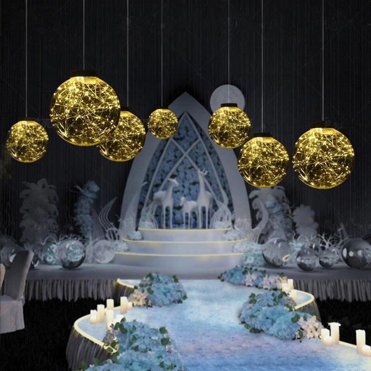 Hochzeitsdekoration transparenten Acrylkugelstern Straße führt hängenden LED-Fantasie Stern Straße führt Kupferdraht leuchtende Kugel Dekoration Requisiten