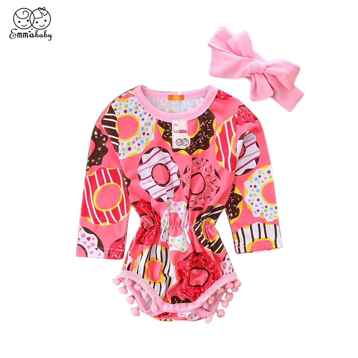 2PCS Cute Newborn Baby Girls Floral Tassels Long Sleeve Bodysuits Jumpsuit Outfits Headband Set Clothes 0-2T