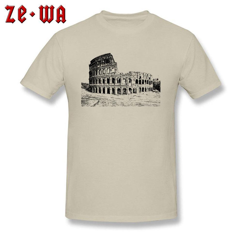2018 Bege T-shirt Dos Homens Coliseu T Camisa Esboço Do Vintage Tshirt de Manga Curta Impresso Algodão Tripulação Pescoço Europa Roupas Topos Baratos