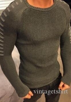 O-cou Automne Hommes Pulls O-cou Fashion Designer creux Slim Fit Tops manches longues