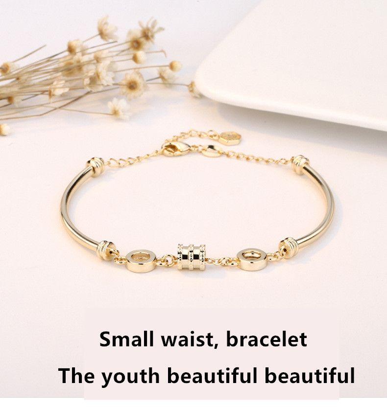 Цяо LAN сюань маленькая талия браслет из 18-каратного розового золота сеть знаменитостей браслет Douyin горячий стиль моды простой личности женщин