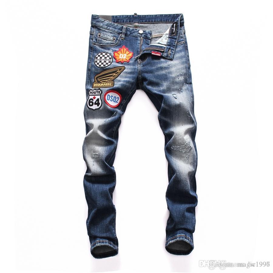 2019 مصمم الأزياء عالية الجودة القطن هول جينز التخسيس للدراجات النارية السائق السراويل الرجال الهيب هوب الجينز D25