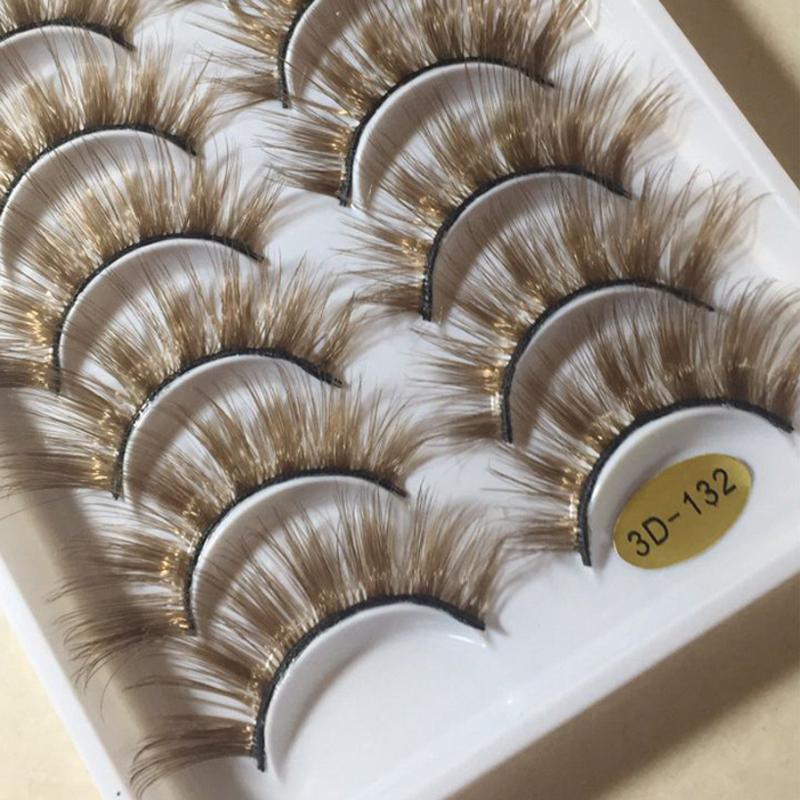 NEW 10 쌍 3D 밍크 컬러 거짓 속눈썹 브라운 크로스 긴 자연 가짜 속눈썹 무대 쇼 메이크업 두꺼운 아이 래쉬