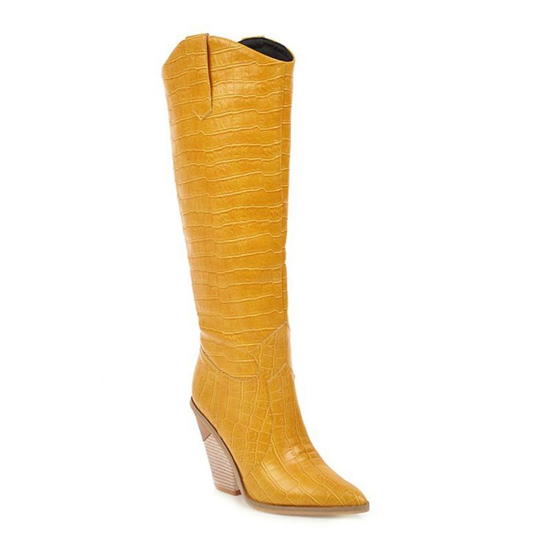 Hot Selling Women Cowboy Pointed Toe Knee High Pull On Riding Boots Trendy for Club Party -B5