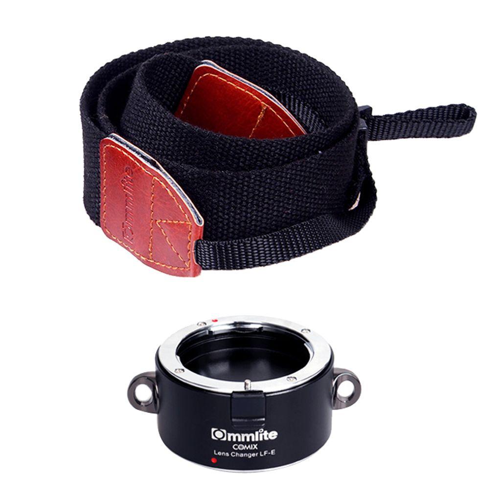 Doble lente convertidor rápido para Sony E-mount con correa para el hombro - Negro