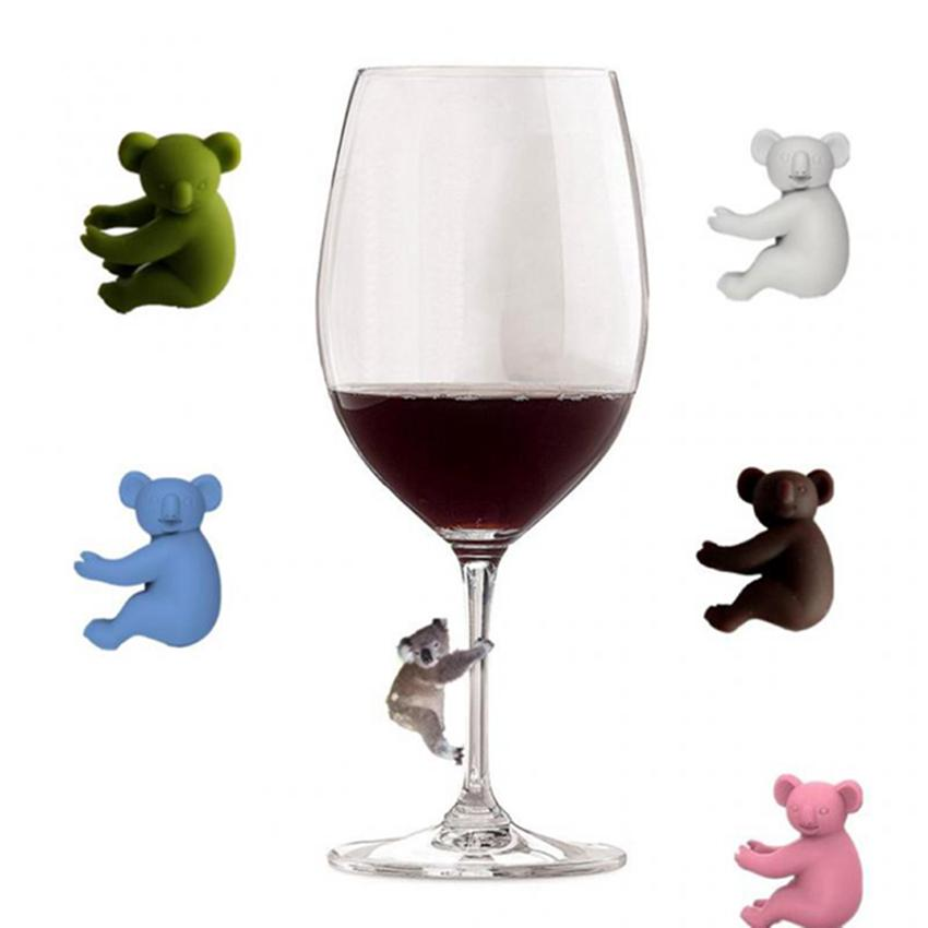 Koala Cup Recognizer Silikon Weinglas Cup Identifizierungs-Tags-Party Weinglas Dedicated Tag 6pcs / set IIA226