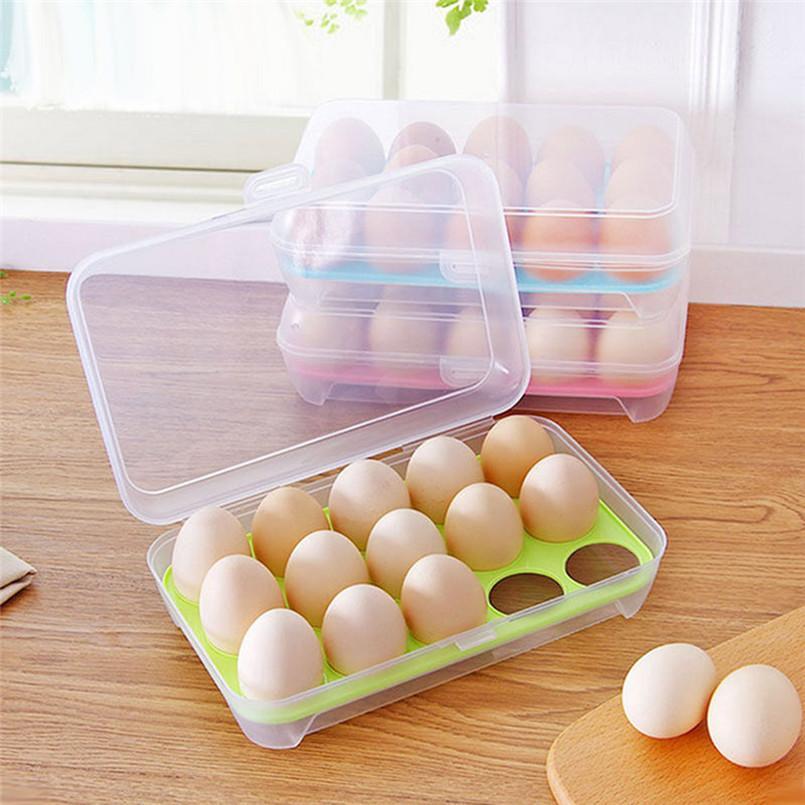 herramientas de cocina práctica y útil de huevo Huevos Nevera Caja de almacenamiento de 15 huevos titular de almacenamiento de alimentos de contenedores Caso 30AP09