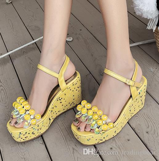 glitter yellow white crystal rhinestone sandals women platform wedges heels designer shoes 2020 Size 34 To 40 tradingbear