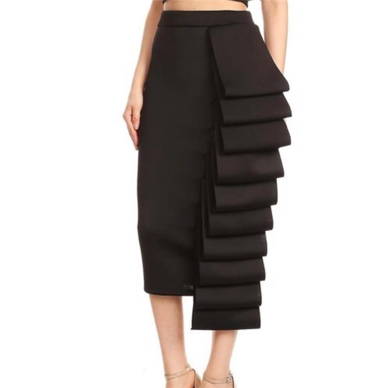 2020 Mulheres saia lápis de cintura alta Magro Midi Sólidos Modest Hip elegante Pacote Feminino jupes Falad Officewear elegante Femme Moda