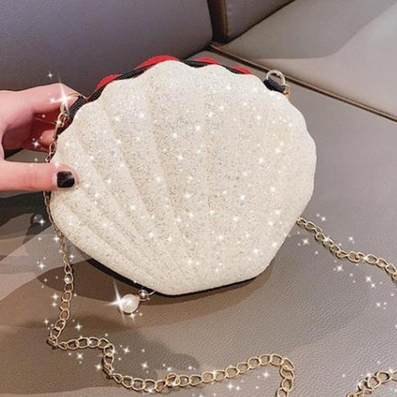 Mignon Paillettes Petit sac à main Shell épaule téléphone argent poche chaîne Sacs à bandoulière pour les femmes