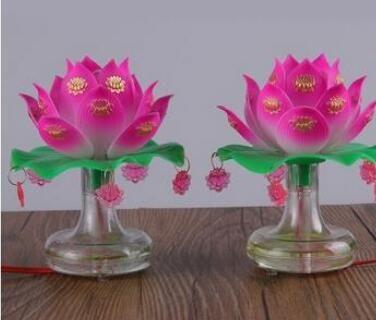 Buddhist Hall Supplies Plug in Warm Light Lotus Lantern Trumpet for Buddhist Tungsten Filament Changming Everlasting Light