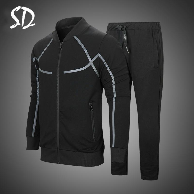 Hoodie Erkekler Rasgele Aktif Suit Fermuar Dış Giyim 2 adet Ceket + Pantolon Kümeleri Olmadan 2019 Erkekler Sportwear Suit Kazak Eşofman