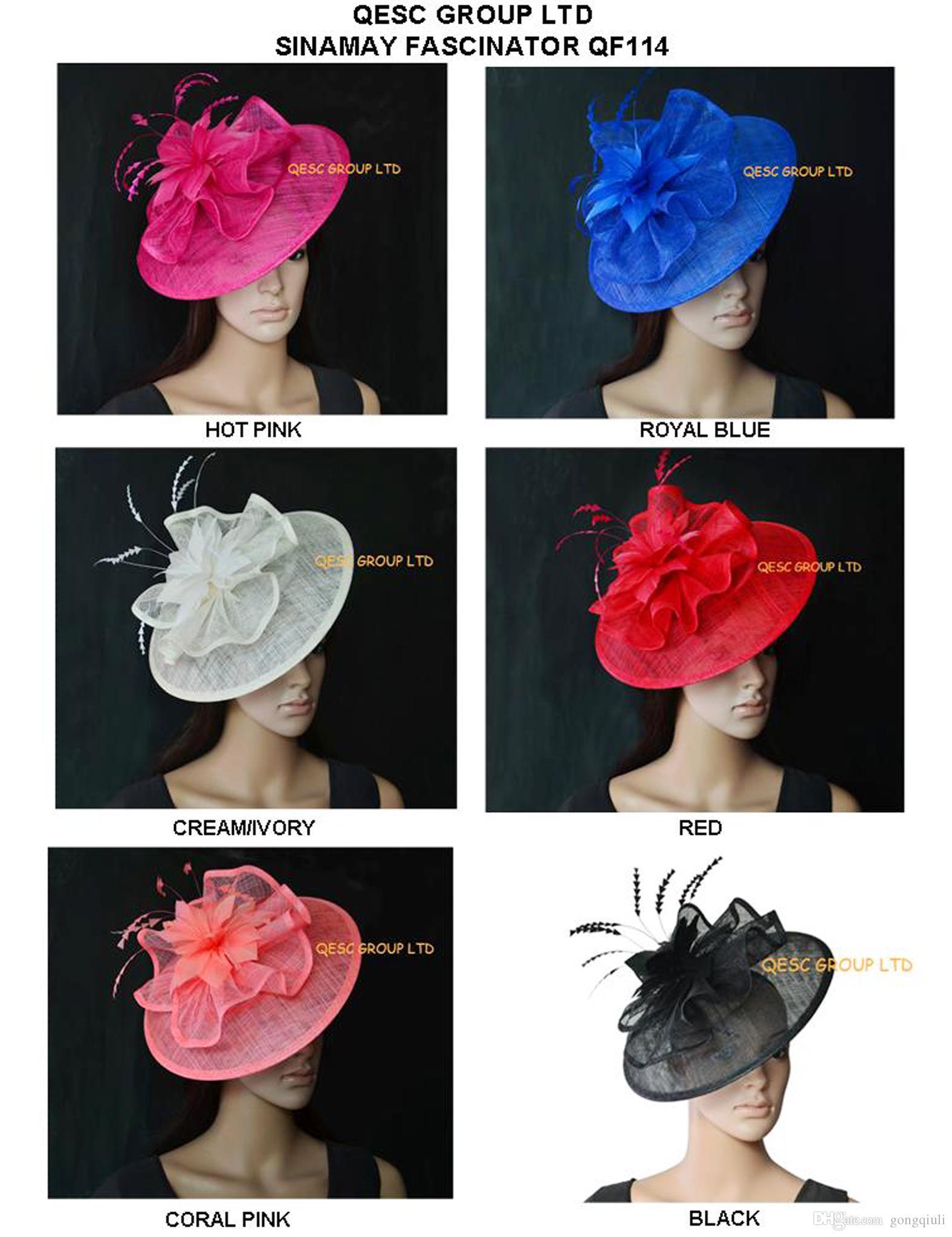 EMS SPEDIZIONE GRATUITA. Nuovo colore all'ingrosso e Sinamay base fascinator cappello da sposa fedora per kentucky derby. Grande