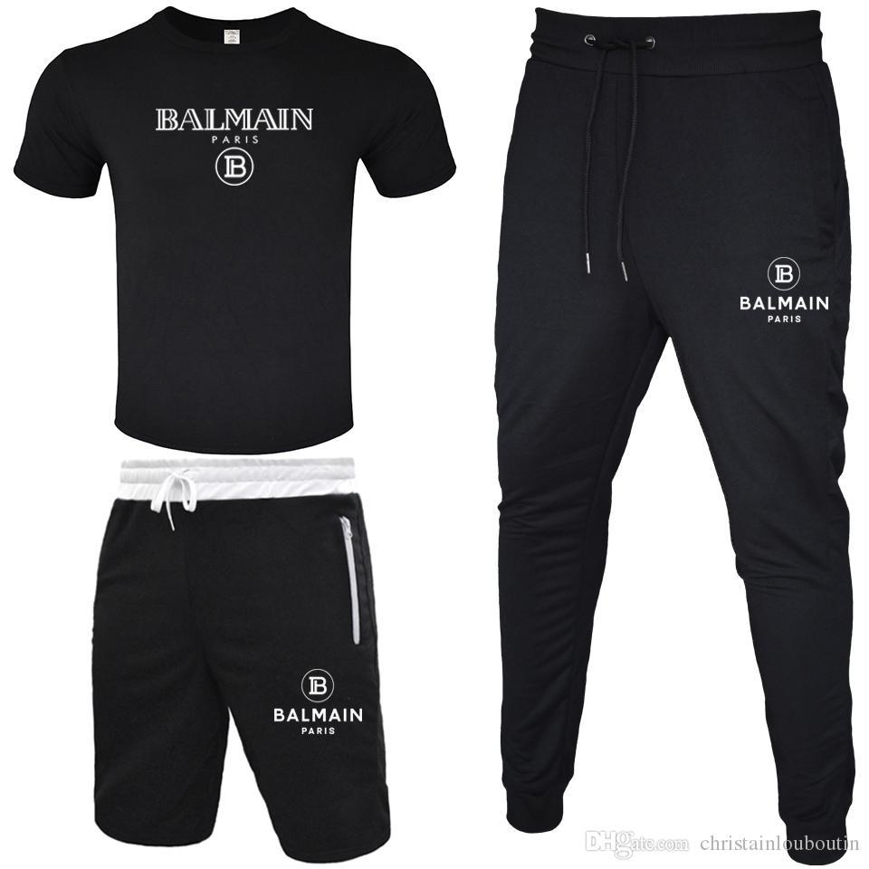 BALMAIN Manntrainingsnazug 2020 T-Shirt + kurze Hose + lange Hose 3 Stück Sets Solid Color Outfit Anzüge Qualitäts Tracksuits