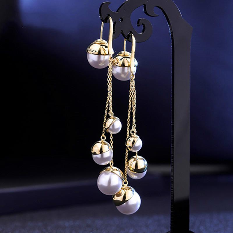 925 orecchini d'argento modelli femminili semplici orecchini di perle gioielli moda temperamento creativo Corea retrò ladys bianco pera studenti orecchino