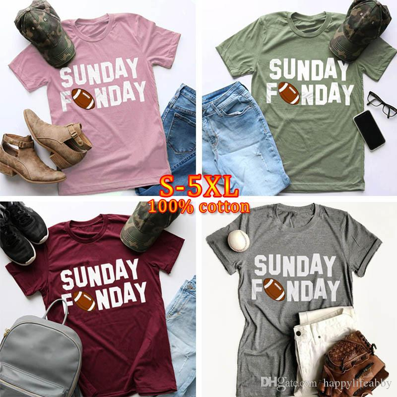Verão novo quente moda domingo funday palavras imprimir mulheres camisetas o-pescoço curto mulheres de manga curta camisa casual solto senhora verão tops