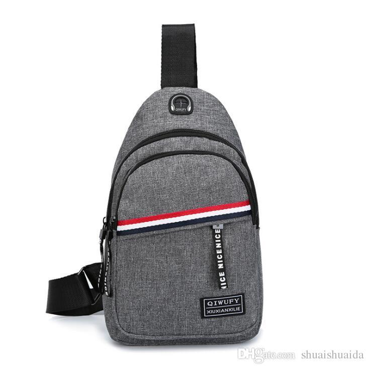 2019 Comercio al por mayor Hombres un hombro inclinado bolsa Ocio bolso Oxford tela Mujeres bolsa móvil Gran capacidad SportOutdoor Packs Paquetes de día Y75