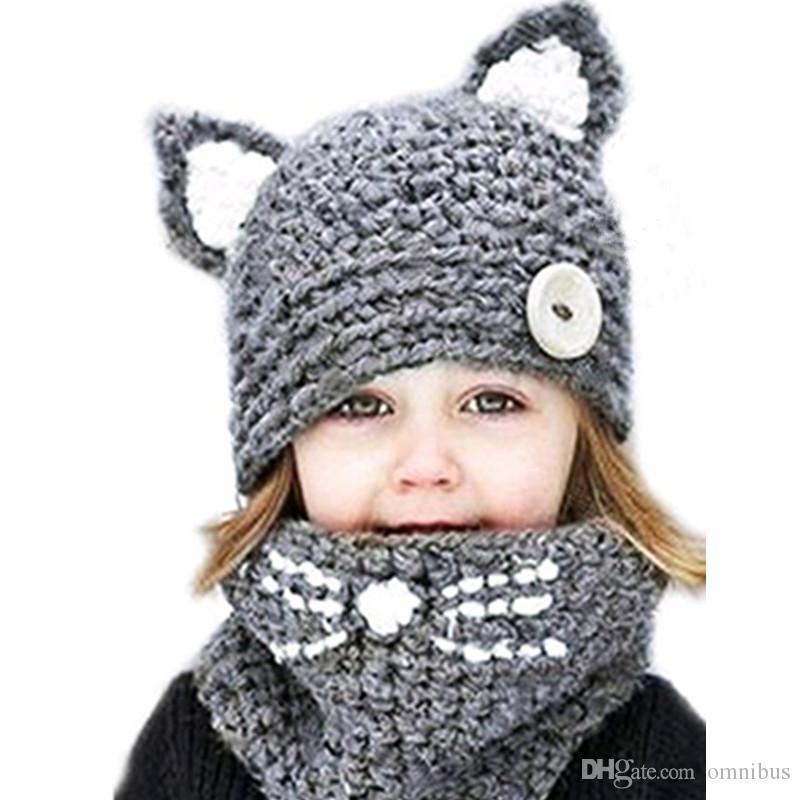 Sıcak Kış yeni el yapımı çocuk karikatür yün şapka önlük çift kullanımlı bebek kış rüzgar geçirmez sıcak örme şapka