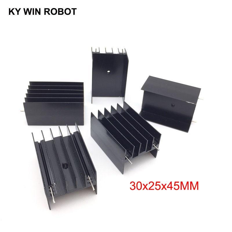 5 pezzi di alluminio TO-220 dissipatore di calore a 220 dissipatore di calore transistor radiatore TO220 raffreddamento di raffreddamento 30 * 25 * 45mm con 2 pin