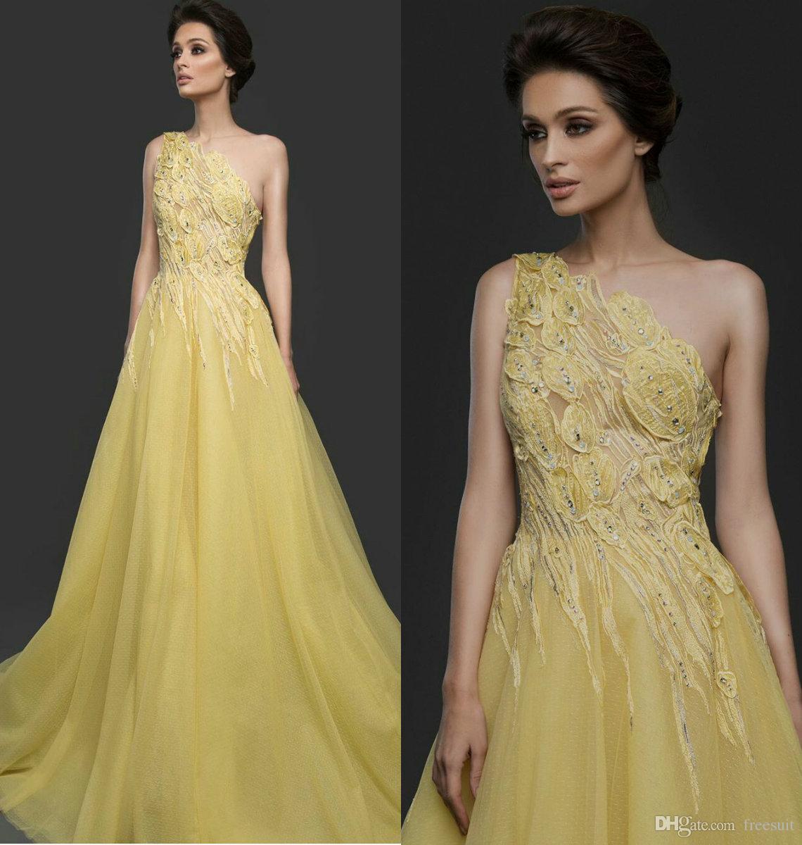 Yellow A-Linie Abendkleider Elegant Ein-Schulter Sleeveless lange formale Partei-Kleid Appliqued wulstige Spitze Sweep Zug Abendkleid Günstige