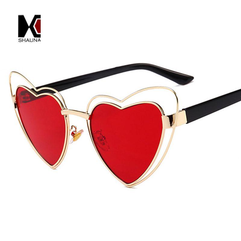 vendita all'ingrosso Oversize Double Rims Donna Heart Sharp Occhiali da sole Fashion Ladies Clear Red Lens Shades UV400