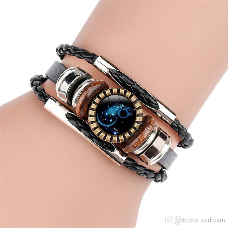 12 Zodiac Horóscopo pulseira de multicamadas Enrole vidro Cabochon Pulseira Pulseira designer de jóias mulheres pulseiras homens pulseiras Drop Ship