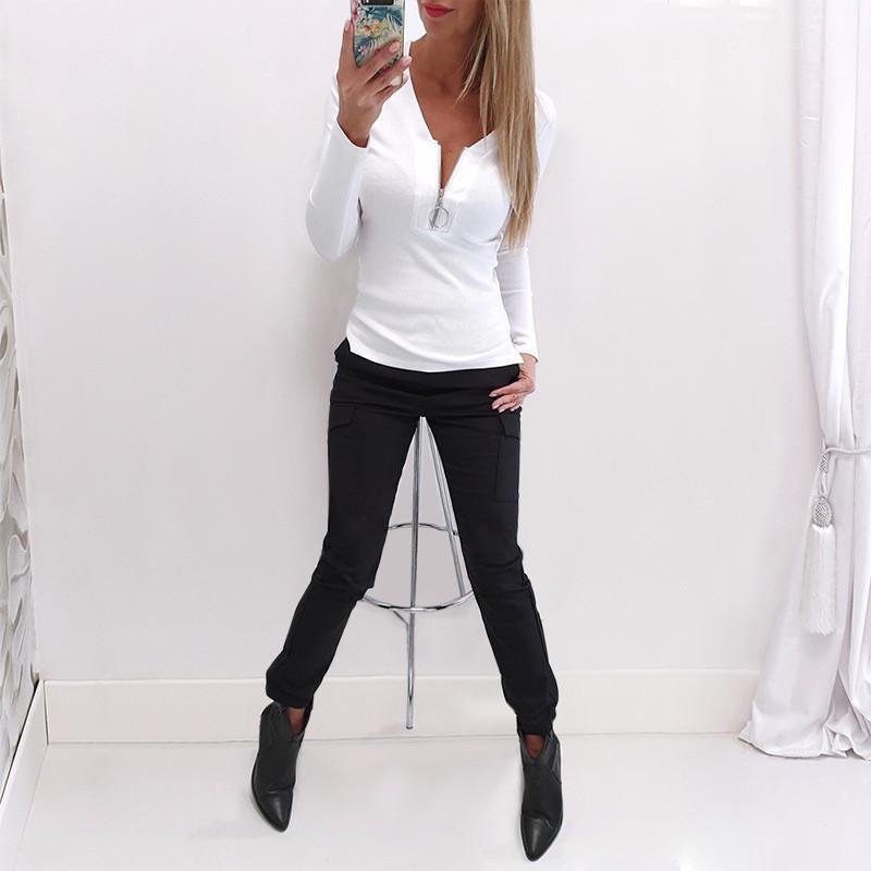 Solid Color Damen Designer-T-Shirts dünne reizvolle dünne Reißverschlusskragen langärmelige Pullover dünne T-Shirts Mode für Frauen-T-Shirts