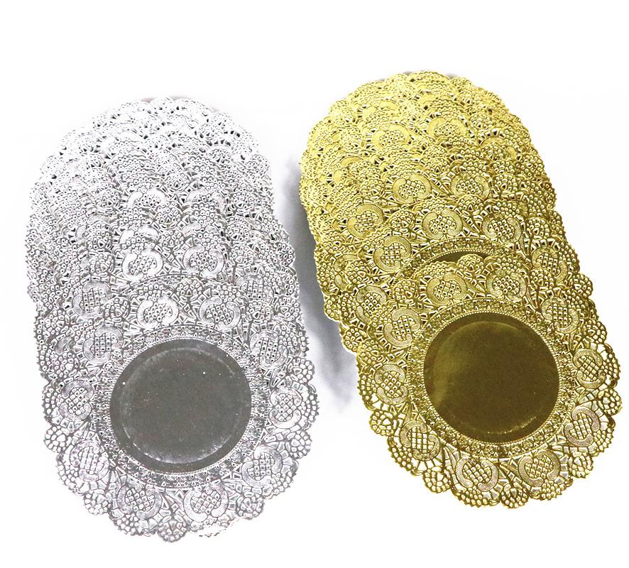 4.5inch Round gold cake paper doilies embossed lace paper placemats gift decorative kit 200pcs/lot Y200328