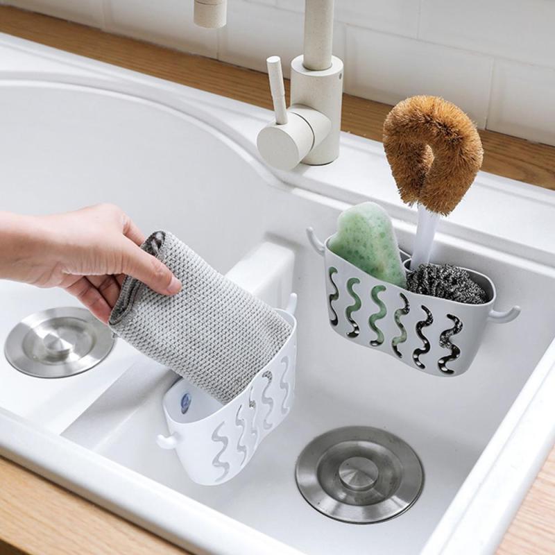 Kitchen Sink Shelf Soap Sponge Drain Rack Sucker Storage Basket Accessories