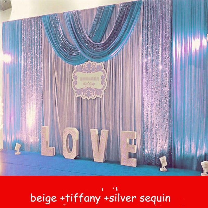 ستائر خلفية 3Mx6M الزفاف مع الفضة الأرجواني الترتر غنيمة الاحتفال المرحلة الأداء الدعائم الخلفية الإمدادات