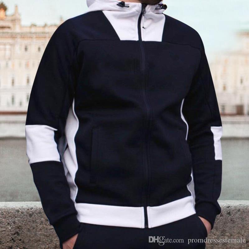 Luxury Mens Patchwork Hoodies Fashion Hooded Long Sleeves Cardigan Coat Active Designer Mens Slim Sweatshirt