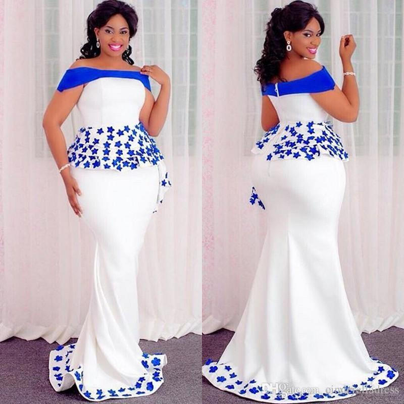 Plus Size Special Occasion Evening Dresses With Royal Blue Appliques Peplum  Off The Shoulder Mermaid Prom Dress Elegant Plus Size Clothing Formal ...