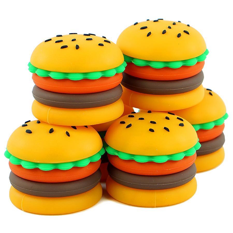 Non-stick 5 ML hamburger hamburger recipiente de cera Dabs jarros de erva seca Vaporizador para concentrado de óleo de cera Bola Containers 1 * 1.1 polegada
