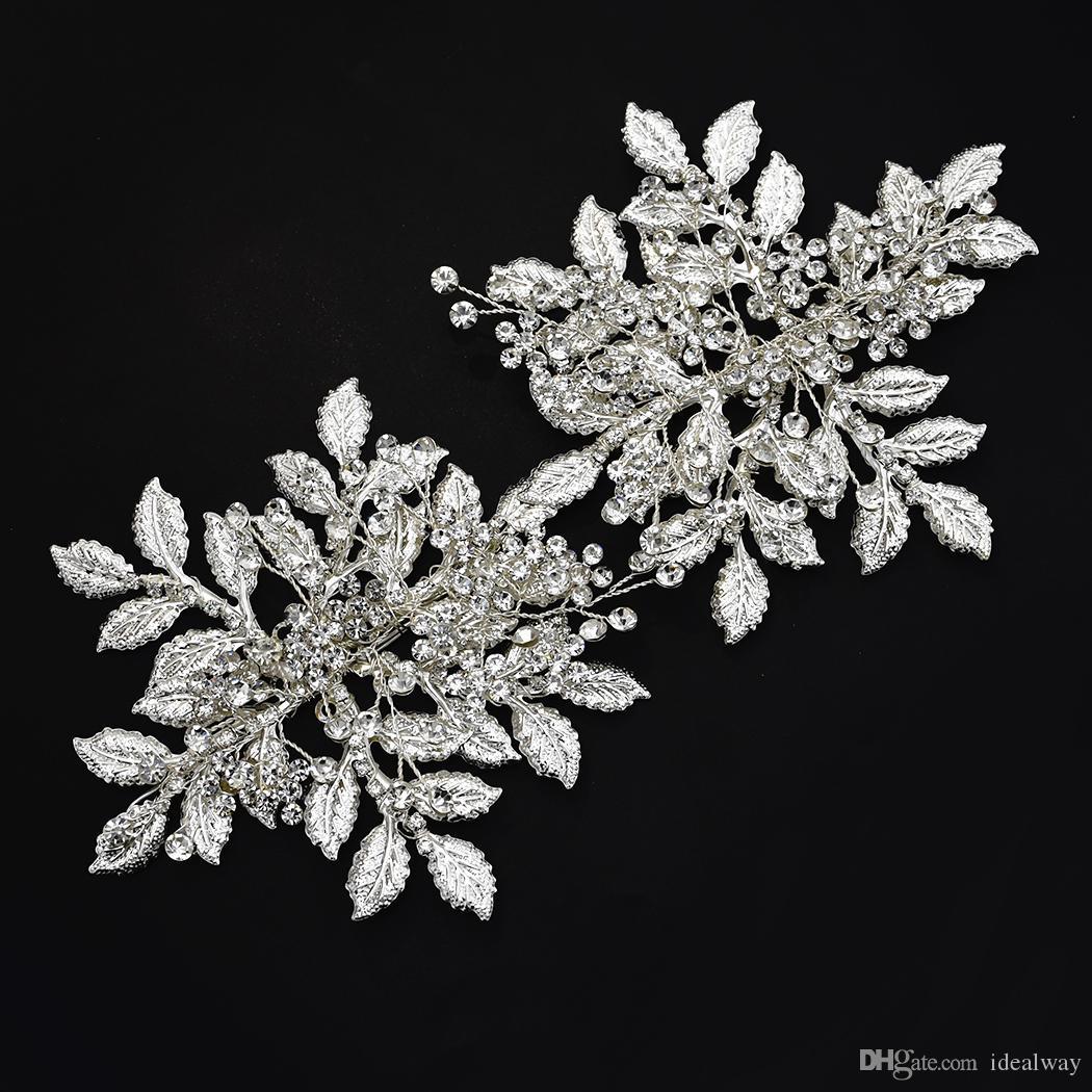 Новая невеста невеста аксессуары горного хрусталя волос дама сплав серебра волосы группа блестящих украшения головы