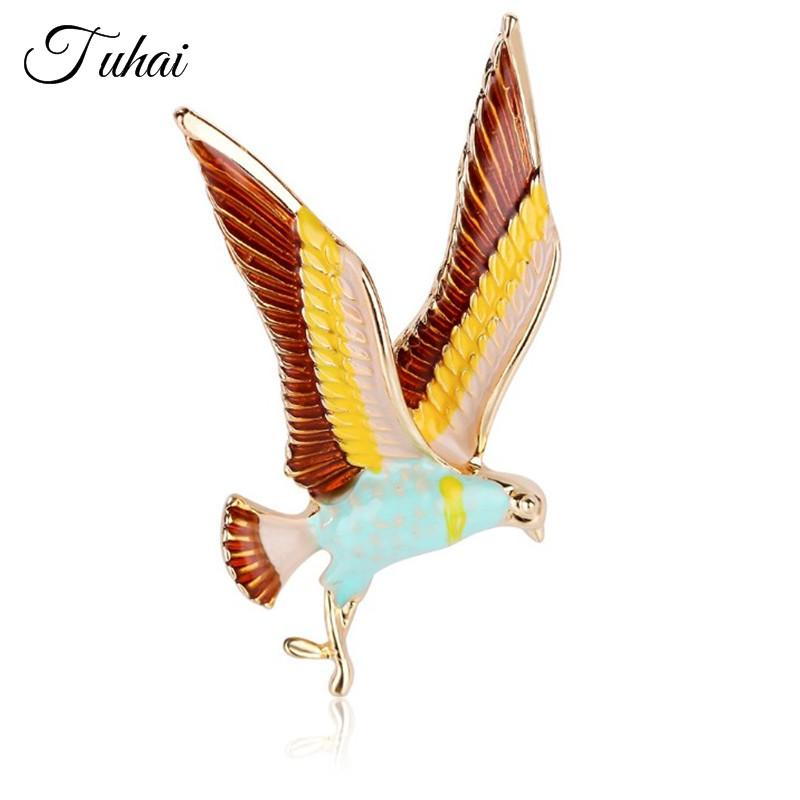 5pcs/lot British style Enamel Animal Birds Brooch Pins for Women Men Suit Gold Color Elegant Brooches Accessories