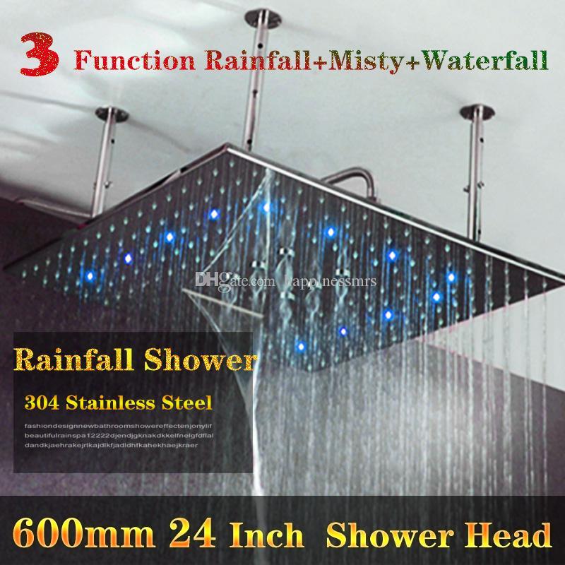 수력 3 온수 온도에 따라 3 색 변화 24 인치 천장 강우량 폭포 샤워 헤드 마사지 조명 주도
