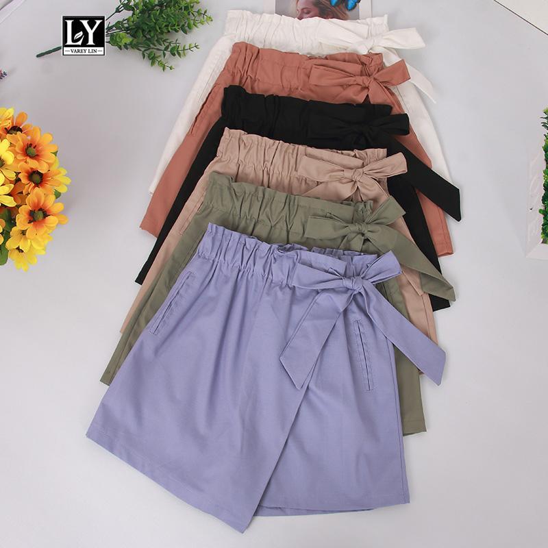 Ly Varey Lin Femmes d'été Shorts Haut Wais Bow lacent taille élastique Shorts Jupes Femme Casual Pantalon large jambe courte
