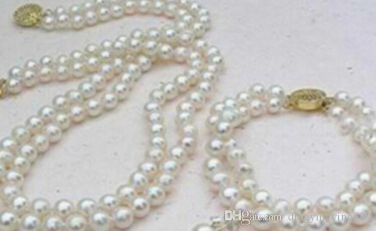 bracelet 901 2 Rows White 8mm Akoya Cultured Shell Pearl Necklace Bracelet Earring