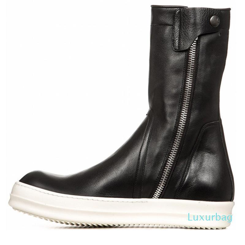 2019 Scarpe Moda Uomo Inverno cerniera stivali Stivali vera pelle stivali lunghi Zapato Deportivo Hombre 13 # 25 / 20D50