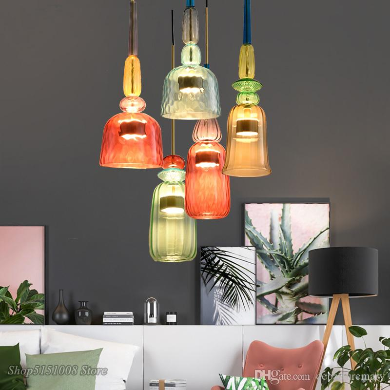 Nordic Color Candy Pendant Lights Modern Living Room Bedroom Children\'S  Room Single Head Glass Hanging Lamps Home Decor Fixtures Modern Pendant  Lamp ...